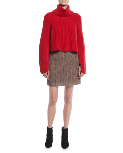 Turtleneck Chunky Ribbed Knit Cropped Cashmere Sweater and Matching Items