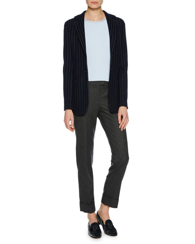 Two-Button Pinstripe Cashmere Jacket and Matching Items
