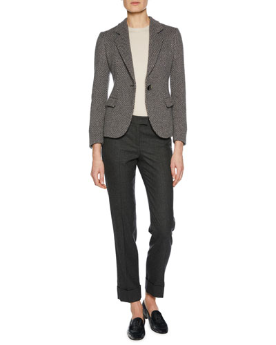 One-Button Woven Cashmere Novelty Jacket and Matching Items