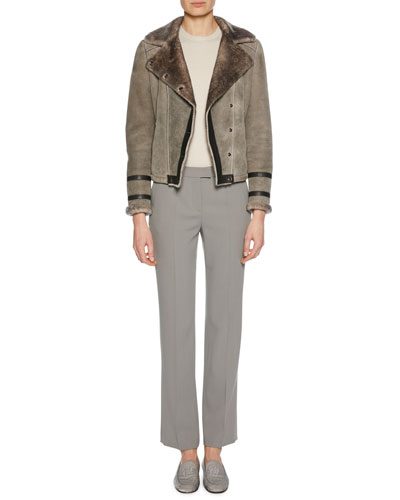 Button-Front Shearling Biker Jacket w/ Leather Trim and Matching Items