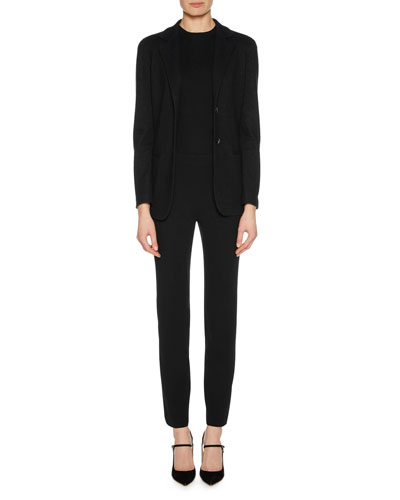 Straight-Leg Wool Crepe Crop Pants with Back Zip, Black and Matching Items