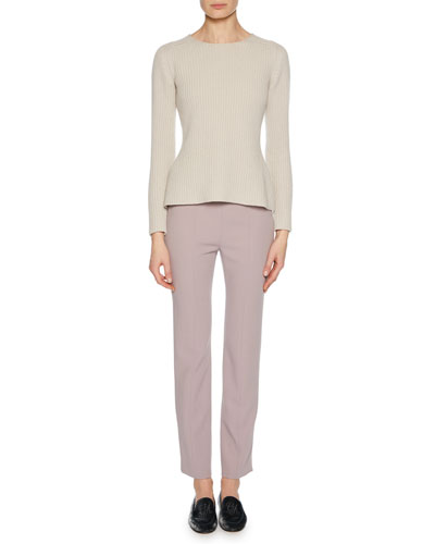 Crewneck Long-Sleeve Cashmere-Wool Blend Pullover Sweater w/ Slight Peplum and Matching Items