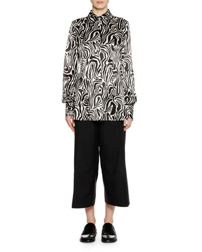 Long-Sleeve Button-Down Zebra-Print Woven Shirt and Matching Items