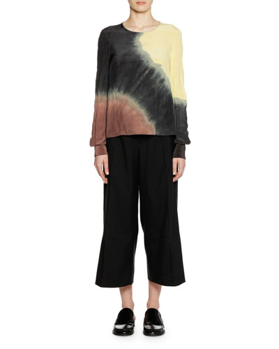 Crewneck Long-Sleeve Tie-Dye Blouse and Matching Items