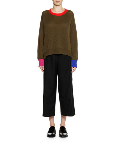 Crewneck Long-Sleeve Cashmere Knit Sweater and Matching Items