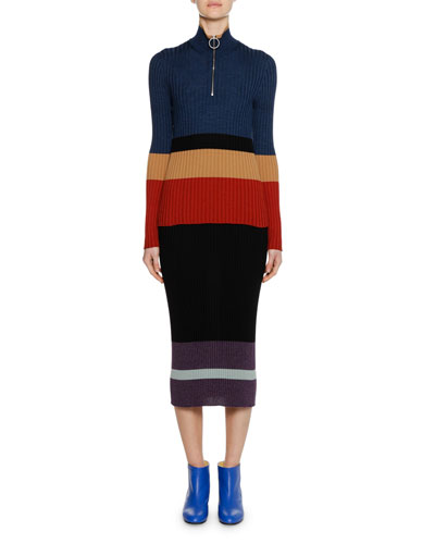 Long-Sleeve Turtleneck Colorblocked Wool-Silk Knit Sweater and Matching Items