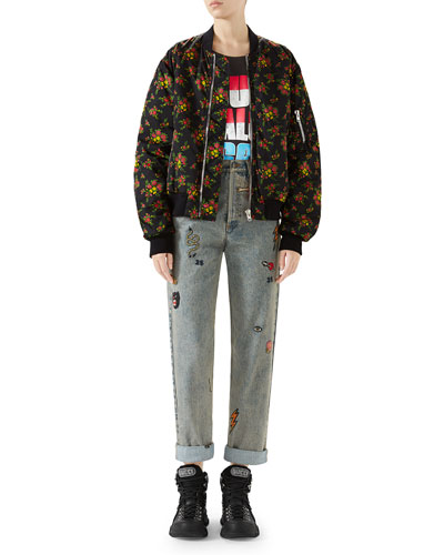 Bouquet-Print Zip-Front Woven Bomber Jacket  and Matching Items