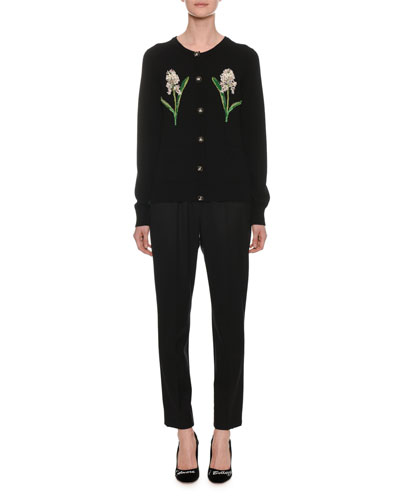 Heavy Wool Long-Sleeve Cardigan w/ Floral Patches  and Matching Items