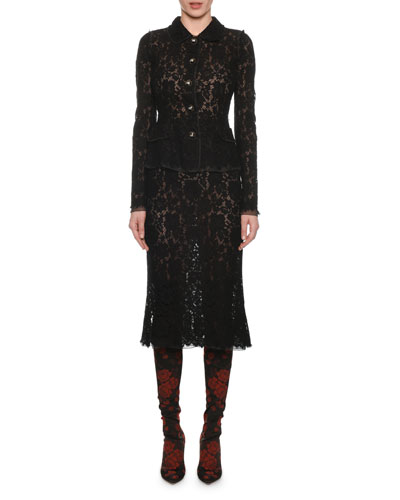 Button-Front Long-Sleeve Fitted Lace Jacket and Matching Items