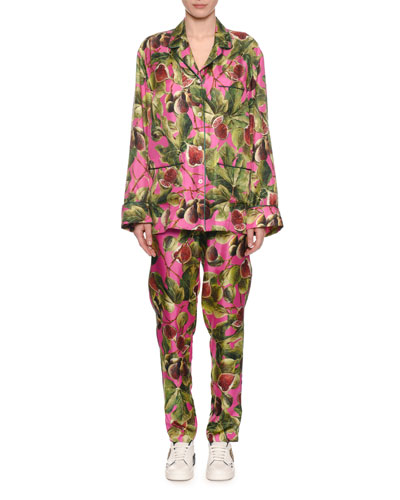 Twill Silk Fig-Print Pajama Blouse  and Matching Items
