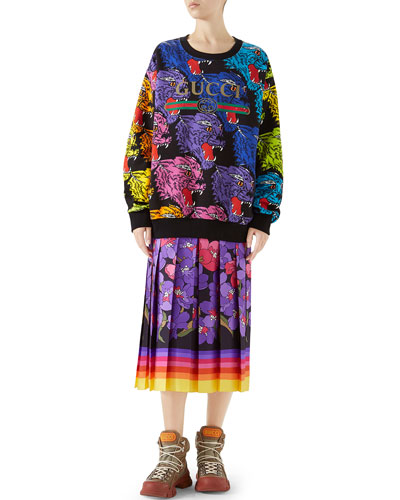 Multicolor Angry Panther Heavy Felted Cotton Oversized Sweatshirt and Matching Items