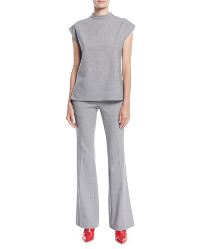 Hudson Mock-Neck Sleeveless Check Top and Matching Items