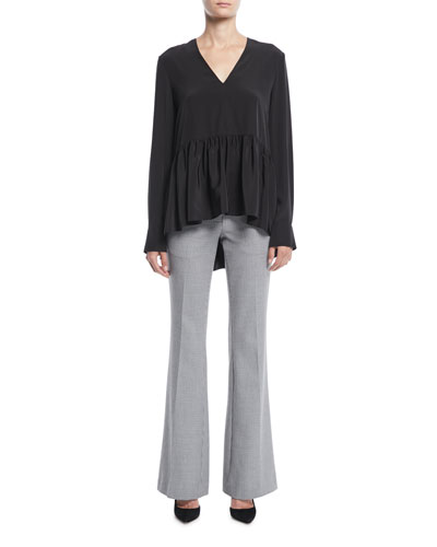 V-Neck Long-Sleeve Silk Crepe de Chine Peplum Top and Matching Items