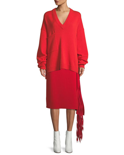 Deep-V Long-Sleeve Oversized Cashmere Sweater w/ Patch Pockets  and Matching Items