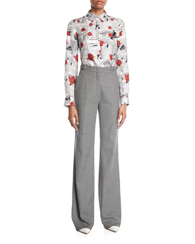 Henri Button-Front Long-Sleeve Newspaper & Rose Print Silk Twill Blouse and Matching Items