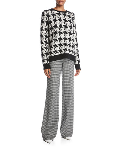 Vesta Wide-Leg Wool-Cashmere Houndstooth Pants and Matching Items