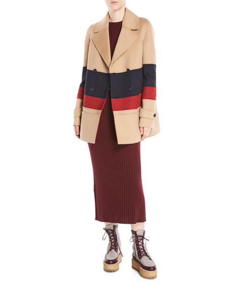 39e29e5e56 Gabriela Hearst Leon Double-Breasted Colorblocked Cashmere Pea Coat ...