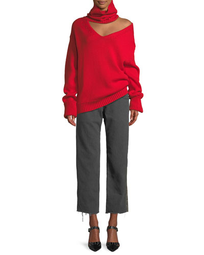 Turtleneck Cutout One-Shoulder Wool Knit Sweater, Red  and Matching Items