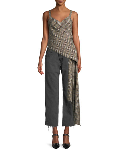 Sweetheart-Neck Sleeveless Plaid Side-Drape Wool-Blend Top and Matching Items