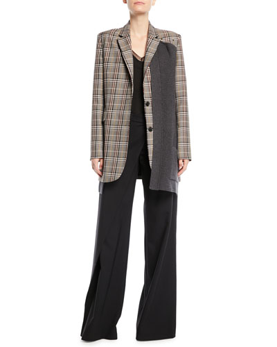 Two-Button Wool-Blend Plaid Jacket w/ Knit Combo and Matching Items