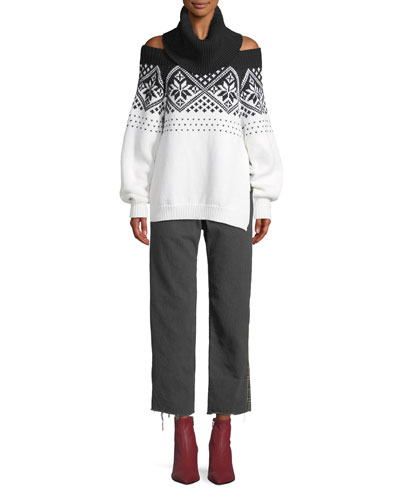 Turtleneck Off-the-Shoulder Intarsia Knit Wool Sweater  and Matching Items