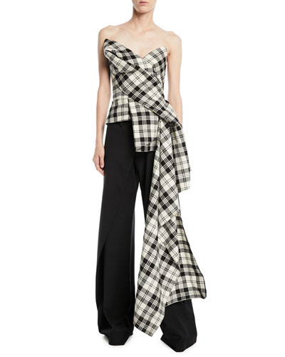Sweetheart-Neck Exaggerated Side-Drape Plaid Corset Top and Matching Items