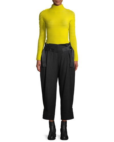 Mock-Neck Long-Sleeve Wave-Pleat Top and Matching Items