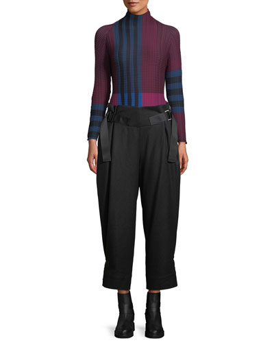 Mock-Neck Long-Sleeve Striped Pleated Sweater  and Matching Items