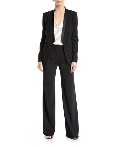 Long-Sleeve Open-Front Wool Blazer and Matching Items