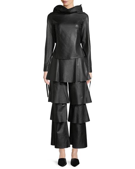 Jodie Backless Tie-Sleeve Ruffled Leather Top