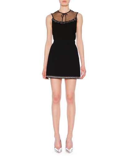 Sleeveless Embellished Crepe Top w/ Lace Neckline and Matching Items