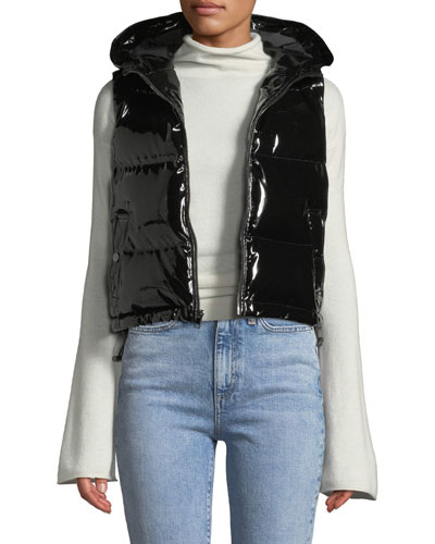 Shiny Hooded Shrunken Puffer Vest and Matching Items