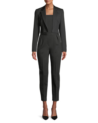 Open-Front Cropped Tux Wool Cube Jacket and Matching Items