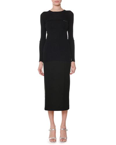 Crewneck Long-Sleeve Wool-Silk Sweater and Matching Items
