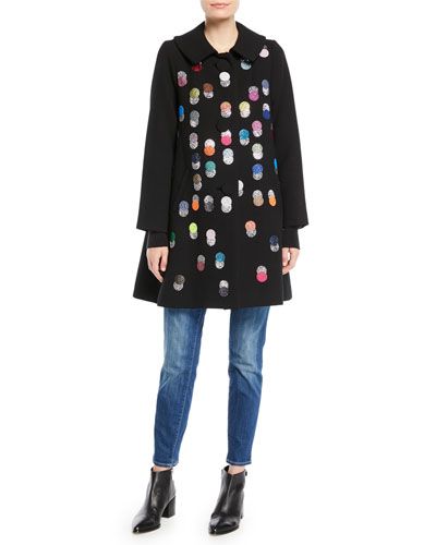 Peter-Pan Collar Multicolor Beaded-Dots Swing Wool Coat and Matching Items