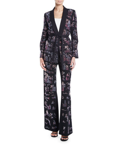 Chinoiserie-Crystal Tie-Waist Wool Long Blazer and Matching Items