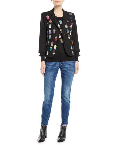 Single-Breasted Multicolor Beaded-Dots Wool Blazer and Matching Items