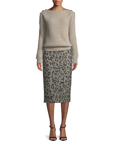 Boat-Neck Long-Sleeve Ribbed Sweater w/ Shoulder Buttons and Matching Items