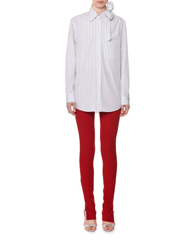 Long-Sleeve Striped Cotton Poplin Shirt w/ Bow Detail and Matching Items