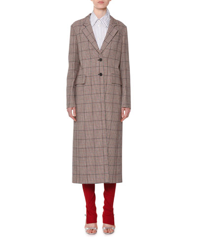 Single-Breasted Check Plaid Long Coat and Matching Items