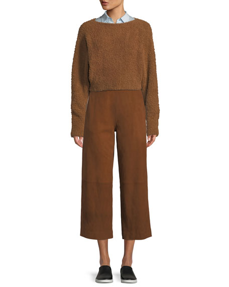 Teddy Cropped Boat-Neck Wool-Blend Sweater