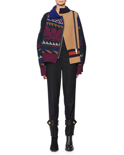 Side-Zip Intarsia Knit Cardigan and Matching Items