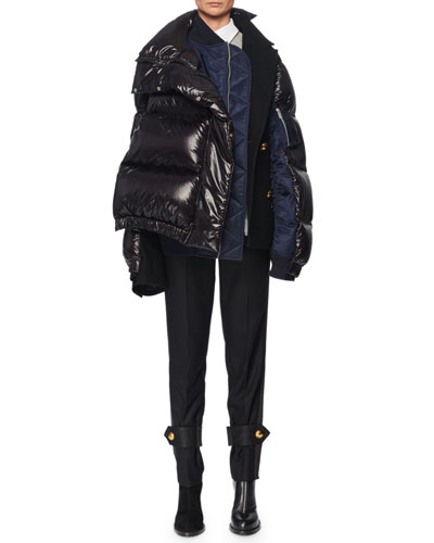 Side-Zip Oversized Nylon Puffer Coat  and Matching Items