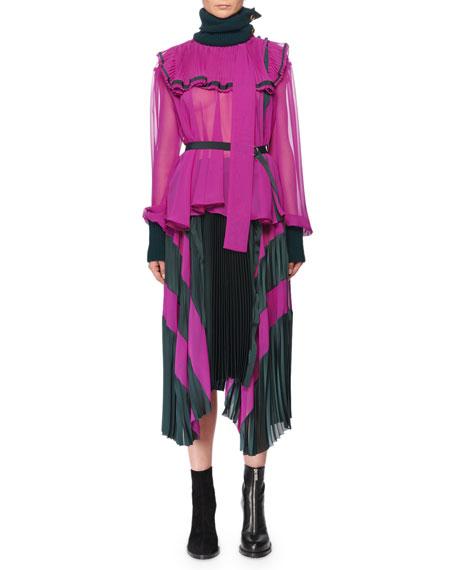 High-Neck Long-Sleeve Chiffon Blouse w/ Satin & Wool Trim