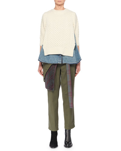 Turtleneck Elbow-Sleeve Combo Denim & Cable-Knit Pullover Top and Matching Items