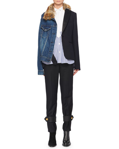 Denim & Blazer Combo Jacket w/ Faux-Fur Collar and Matching Items