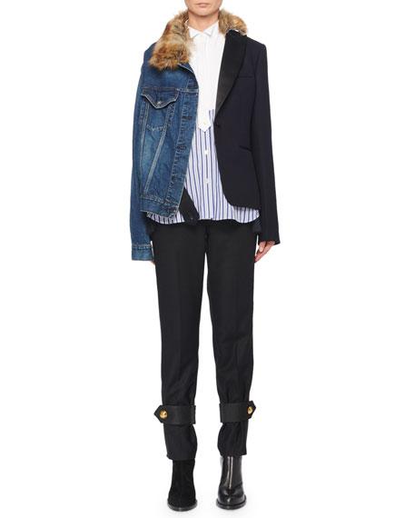 Denim & Blazer Combo Jacket w/ Faux-Fur Collar
