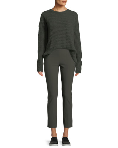 Side-Slit Wool Crewneck Pullover Sweater and Matching Items