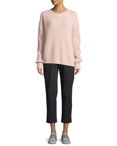 Side-Slit Crewneck Pullover Sweater and Matching Items
