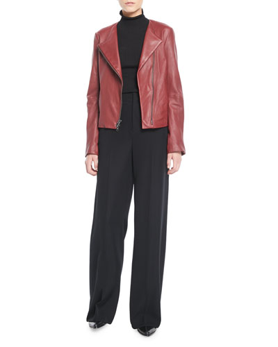 Cross-Front Leather Moto Jacket and Matching Items